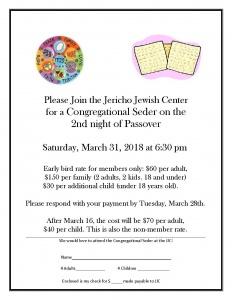 Seder Flyer 2018