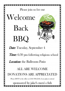welcome back bbq sept 2018
