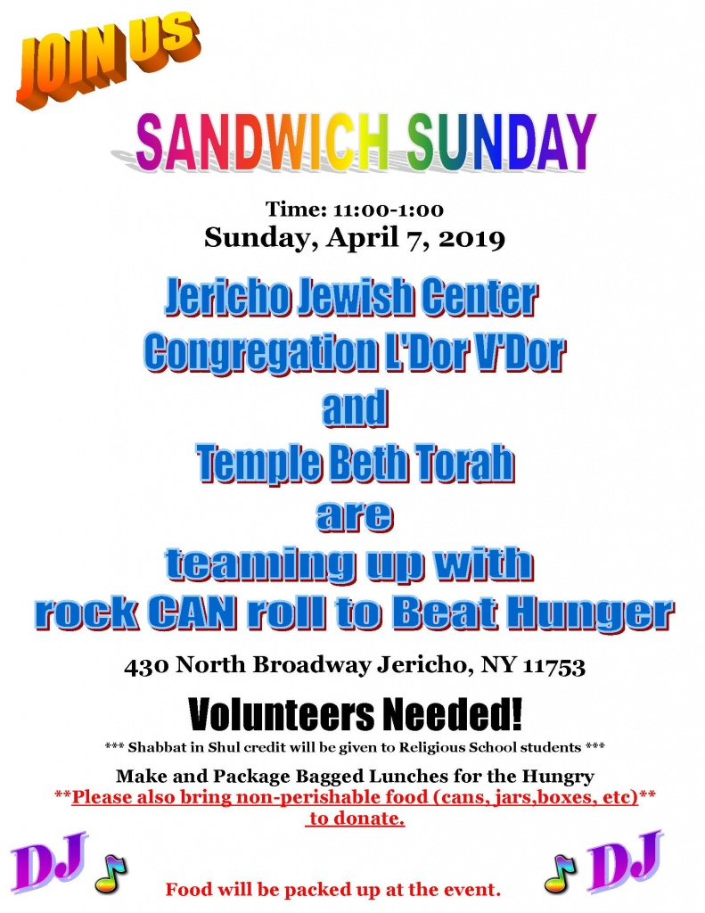 Sandwich_Sunday_flyer_2019 - JOIN US - Religous School